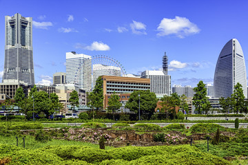 Cityscape at the Red Brick Warehouse Park in Yokohama, Japan