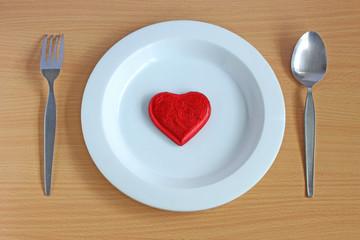 Heart on white dish
