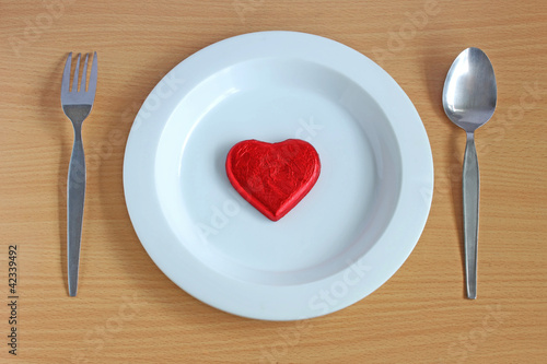 Heart on white dish