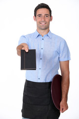 a waiter giving back a wallet