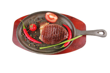 meat entree : grilled beef steak served with hot cayenne peppers