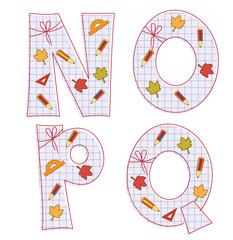 school paper alphabet. Letter N, O, P, Q
