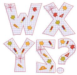 school paper alphabet. Letter W, X, Y, Z,question mark
