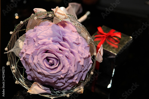 Living rose in wicker mesh