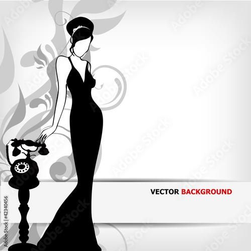 the Vector vintage retro woman silhouette background