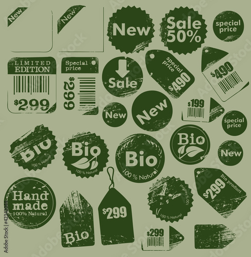sale, bio and handmade grungy labels collection