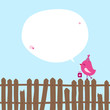 Pink Bird With Gift On Fence Speech Bubble Blue