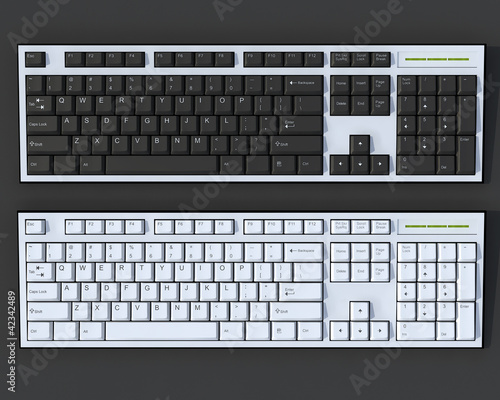 Black and white 3D keyboards