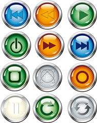 A variety of play symbols, round glass button