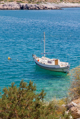 Fishing boat anchored at a Greek island