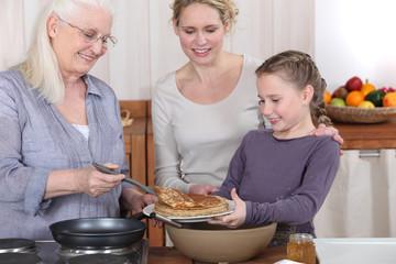 Family eating pancakes