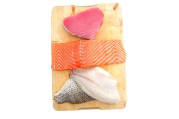 fresh sole , salmon , and red tuna fish