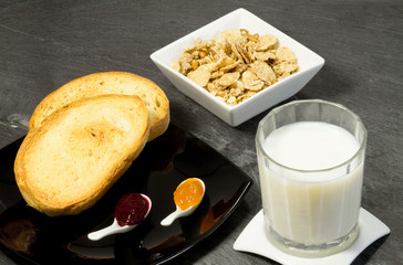breakfast with milk,cereals and marmalade