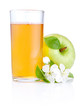 Glass of apple juice, green apples with drops and flowers isolat