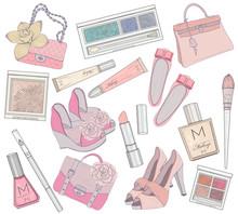 Chaussures femme, le maquillage et set élément sacs.