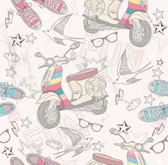 Cute grunge abstract pattern. Seamless pattern with shoes, retro