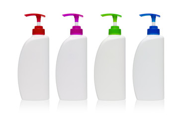 Various plastic pump bottle without label on white background
