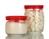 Jars with white lump sugar and white crystal sugar isolated