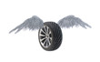 Winged car wheel