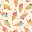 Colorful ice-cream seamless pattern