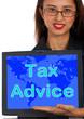 Tax Advice Computer Message Shows Taxation Help Online