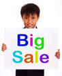 Big Sale Sign Shows Kid Showing Promotions