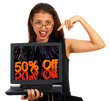 Girl With 50% Off Screen Showing Sale Discount Of Fifty Percent