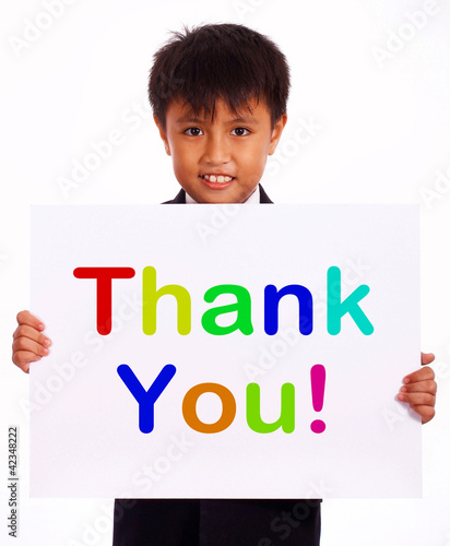 Thank You Sign As Thanks Message From Kid