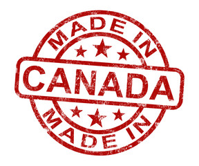 Made In Canada Stamp Shows Canadian Product Or Produce