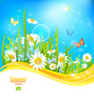 Sunny bright background with blue sky