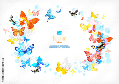 Frame with beautiful butterflies
