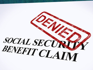 Social Security Claim Denied Stamp Shows Social Unemployment Ben