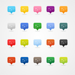 Colored messenger or email web buttons on white. Icon set.