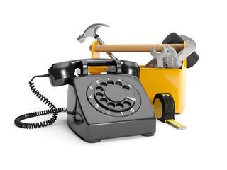 3D illustration: Calling plumbing repair service order. Phone, w
