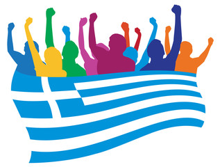 Greece fans vector illustration
