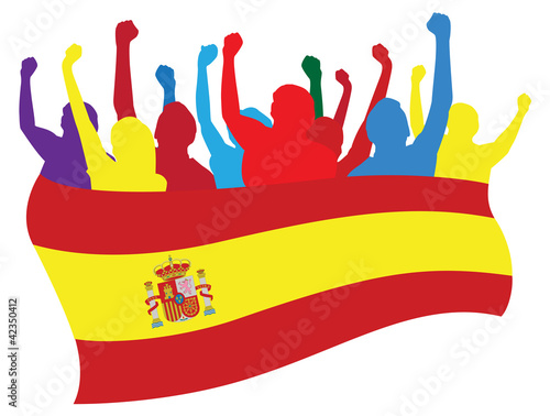 Spain fans vector illustration