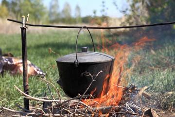 Cauldron on bonfire