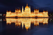 Budapest - Parliament.with reflection in Danube at night