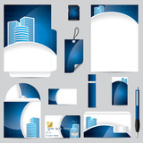 Fototapety Business vector set in blue