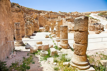 Ruins of Herodion temple castle in Judea desert,  Israel