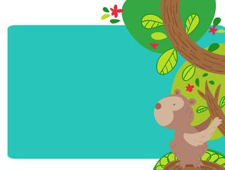 buffa scimmietta su un albero pagina con cornice