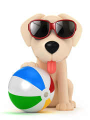 3d render of a dog wearing sunglasses