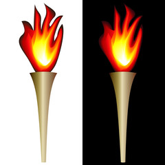 illustration of torch with flame isolated