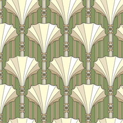 seamless pattern from floral theme in retro style, background