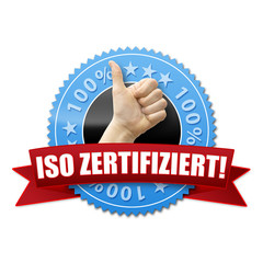 ISO zertifiziert! Button, Icon