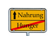 Ortsschild Hunger / Nahrung
