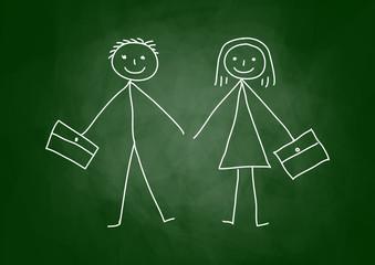Drawing of children on blackboard