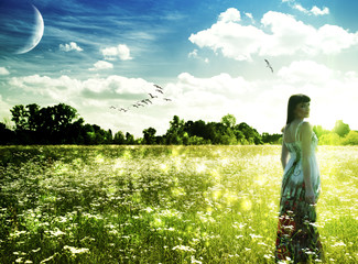 Summer time on the meadow. Abstract female portrait