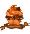 Halloween, Muffin, Cupcakes mit Blättern
