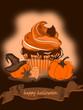 Halloween Cupcakes und Kürbis